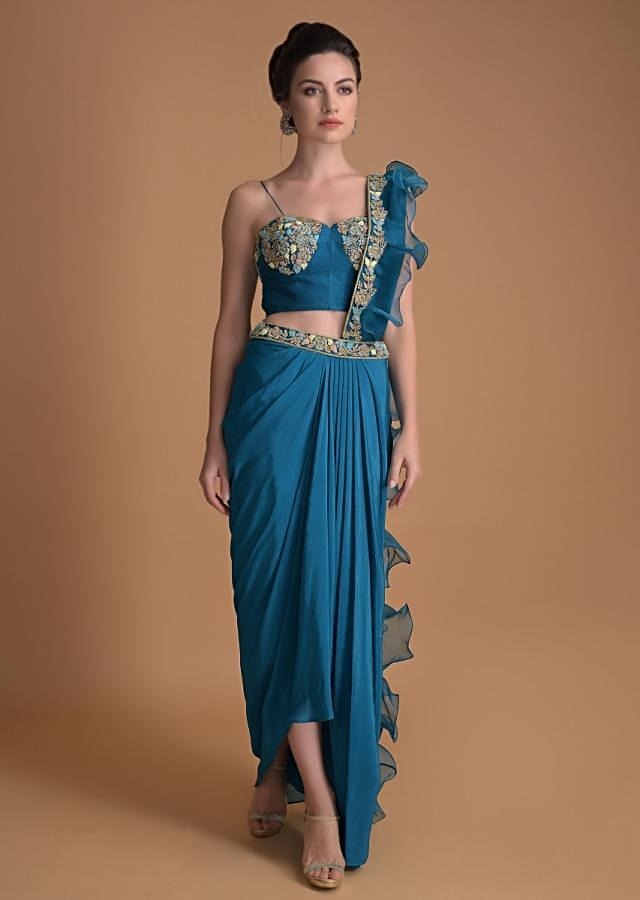 Seaside Blue Dhoti And Crop Top With An Attached Ruffle Pallu Online - Kalki Fashion