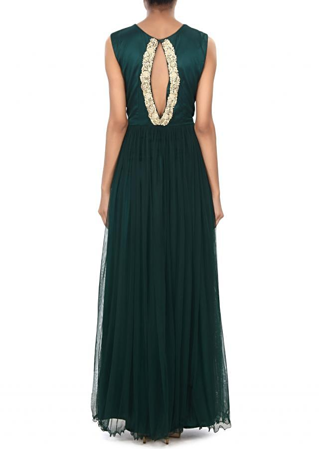 Teal gown adorn in embroidered bodice only on Kalki