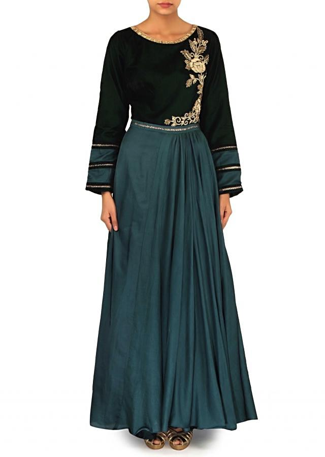 Teal green dress adorn in kardana embroidered bodice only on Kalki