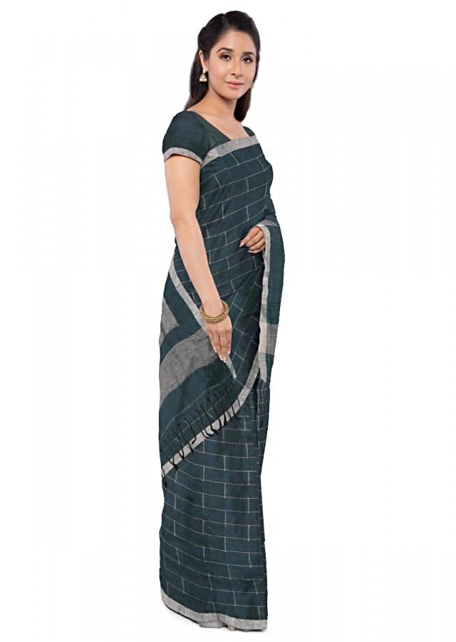 Teal green jute cotton saree with matching blouse piece only on Kalki