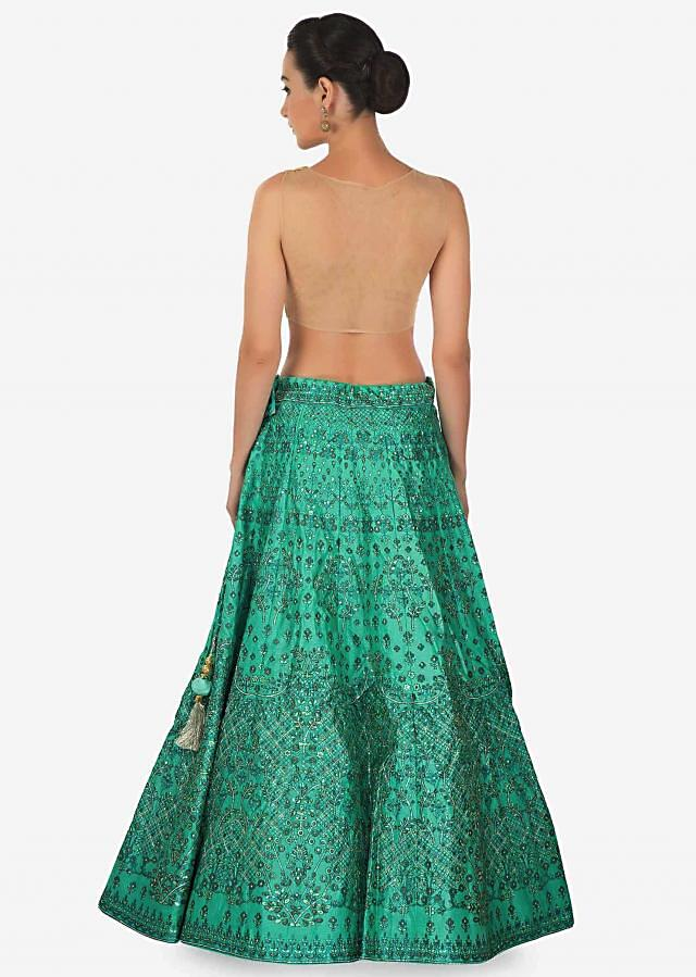 Teal green lehenga in digital print and sequin embroidery only on Kalki