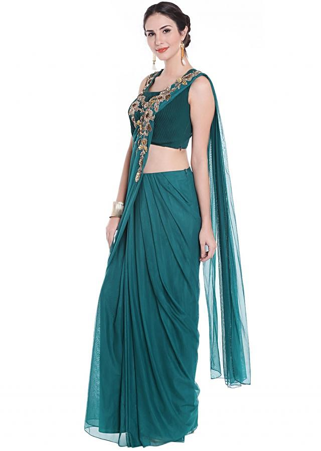 Teal green pre stitched saree in net adorn in zardosi only on Kalki
