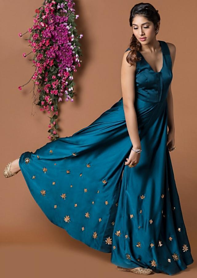 Teal Jumpsuit With Pleated Waist Line And Embroidered Hem Online - Kalki Fashion