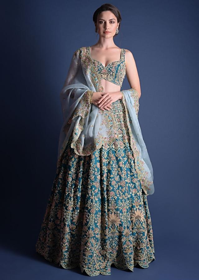 Teal Blue Choli With Heavy Hand Embroidered Floral And Moroccan Motifs Online - Kalki Fashion