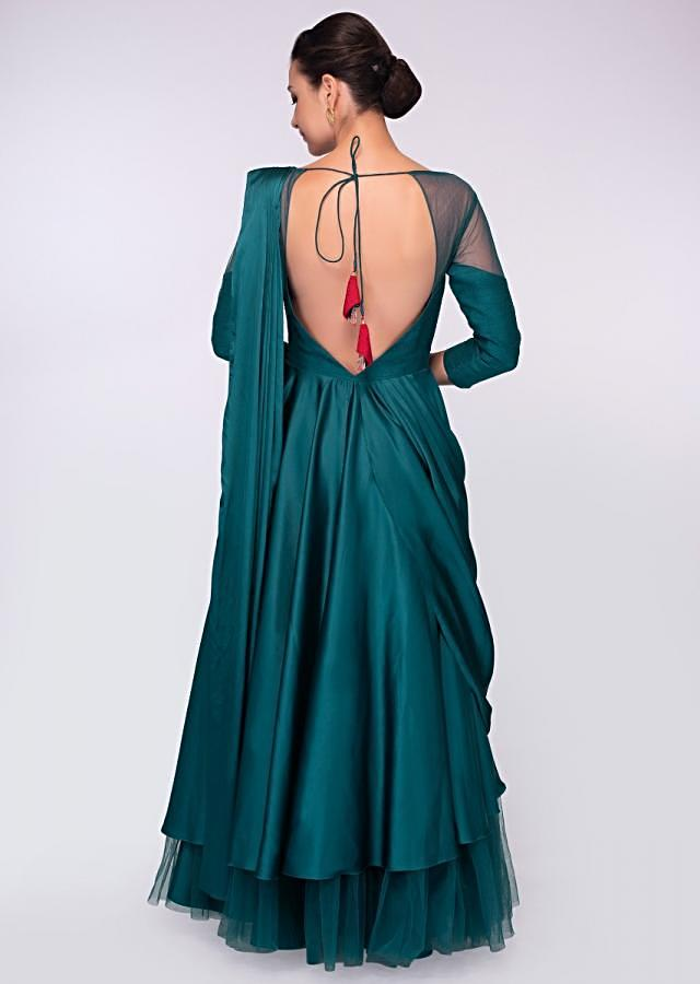 Teal Anarkali Gown In Satin And Net With Cowl Drape And Ready Pleated Dupatta Online - Kalki Fashion