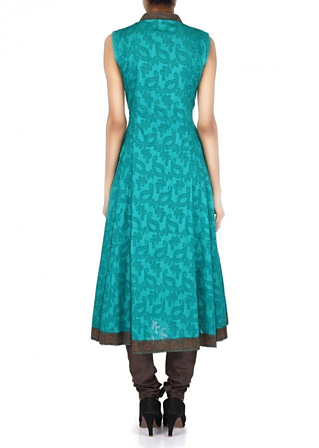 Teal suit adorn in resham embroidery only on Kalki