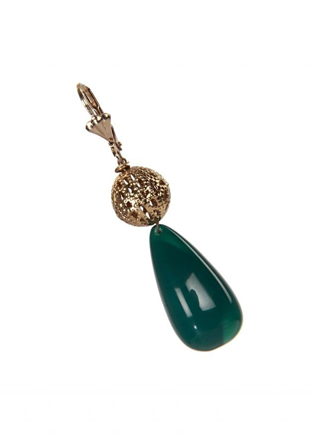 Teal and gold earring enhanced with pearls only on kalki