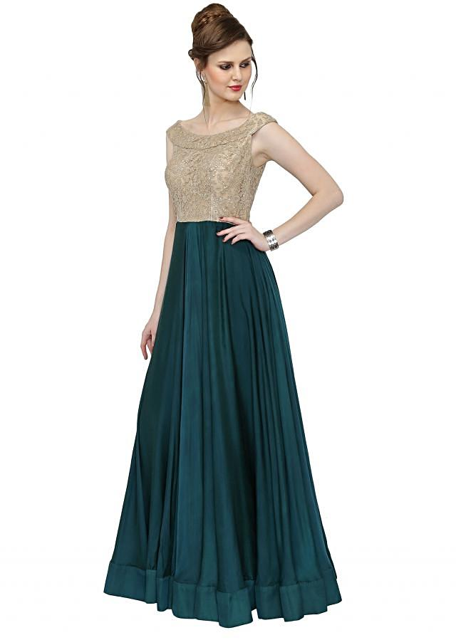 Teal Beige Satin Georgette Gown with Embellished Bodice only on Kalki