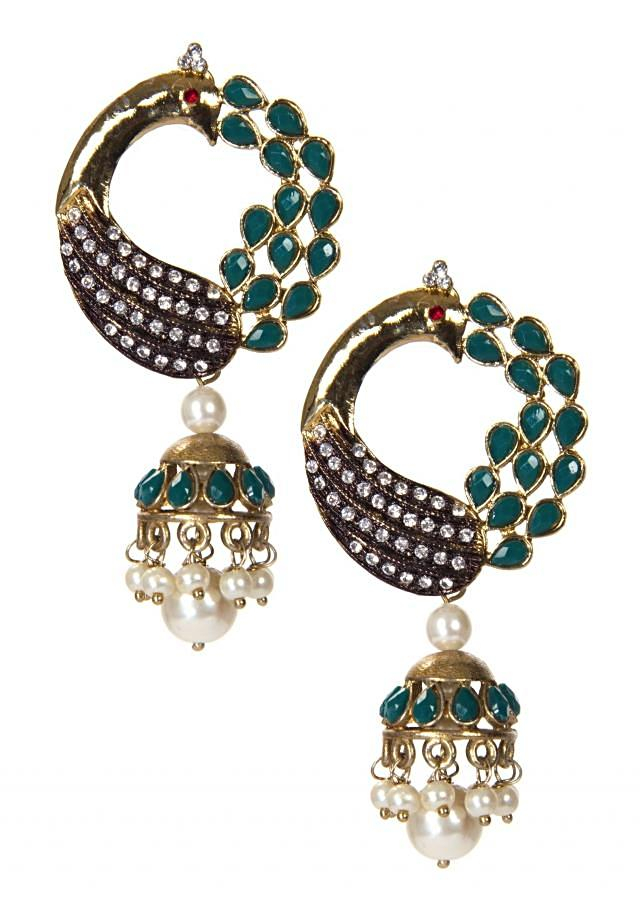 Teal Blue Drop Earring Designed In Peacock Shaped Motif only on Kalki