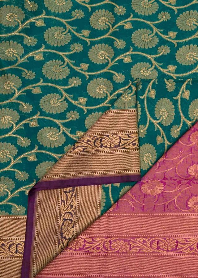 Teal blue saree in silk with pink contrast pallav only on Kalki
