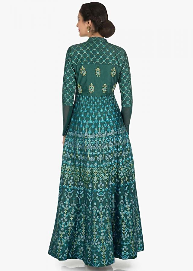 Teal green dress in cotton enhanced in foil print only on Kalki