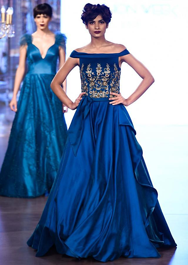 Teal tube gown with centre frills and embroidered bodice only on Kalki