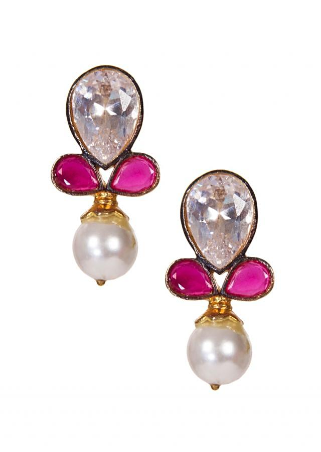 Teardrop Earrings Embellished With Fancy Stones and Pearls only on Kalki