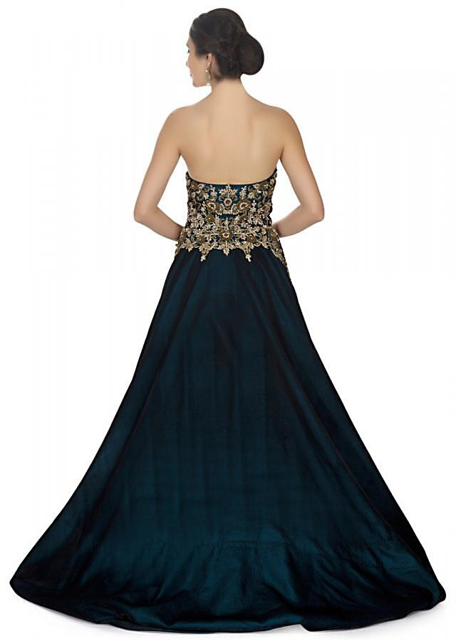 Bottle Green Cocktail Gown With Corset Bodice Adorned In Sequins And Floral Embroidery Online - Kalki Fashion