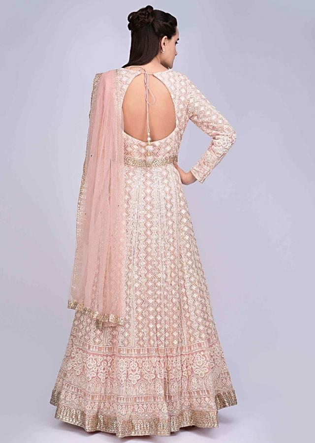 Pink Georgette Anarkali With Thread Embroidery In Geometric And Floral Motif Online - Kalki Fashion
