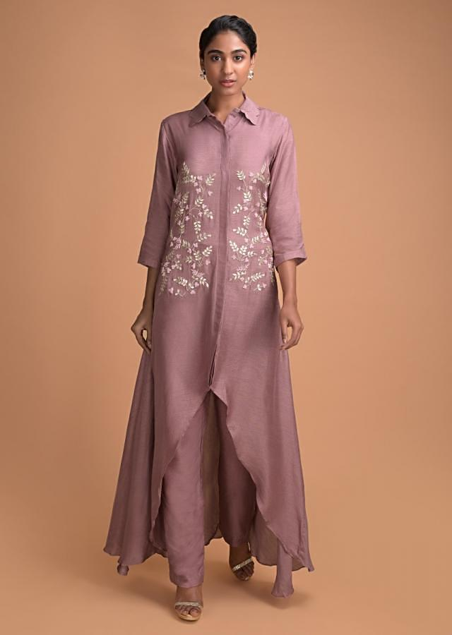 Thulian Pink A Line Suit With High Low Hemline And Embroidered Bodice In Leaf Motifs Online - Kalki Fashion