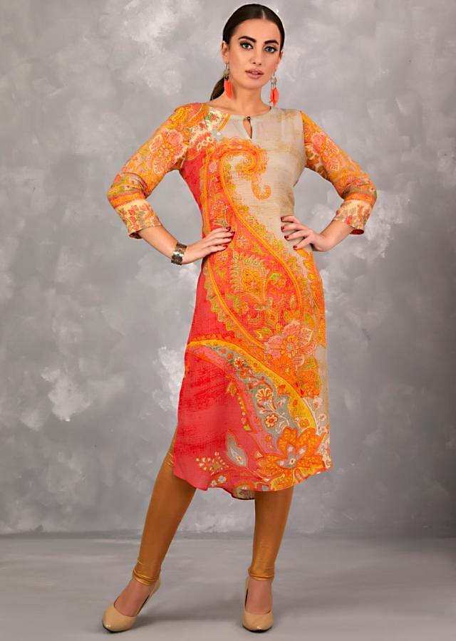 Thunder Grey Kurti In Crepe With Multi Colored Paisley Print Online - Kalki Fashion