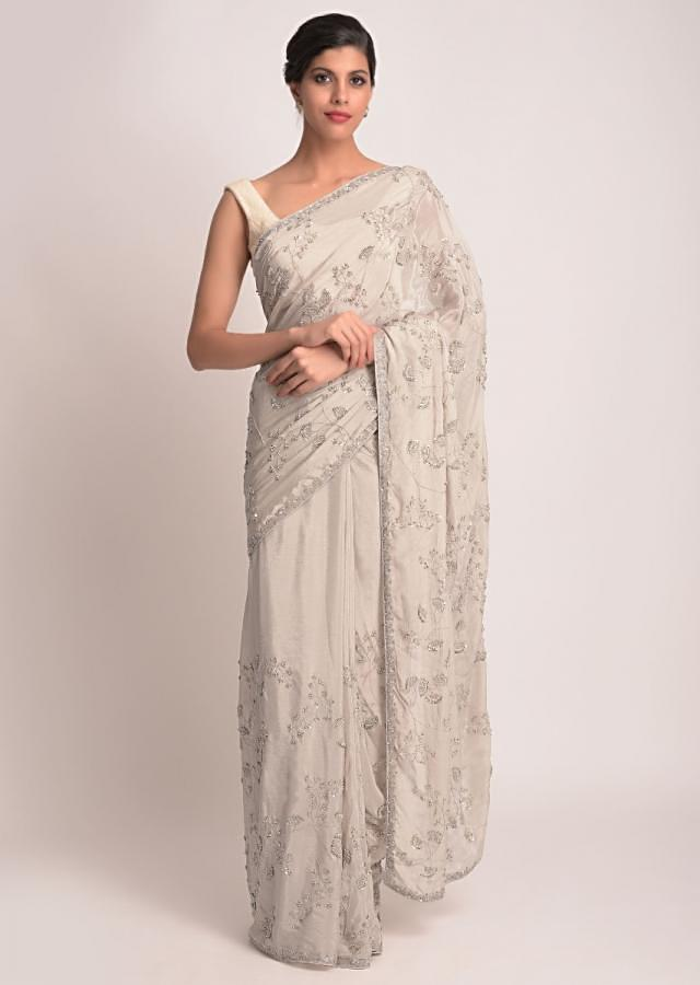 Thunder Grey Saree In Chiffon With Floral Embroidery Work Online - Kalki Fashion