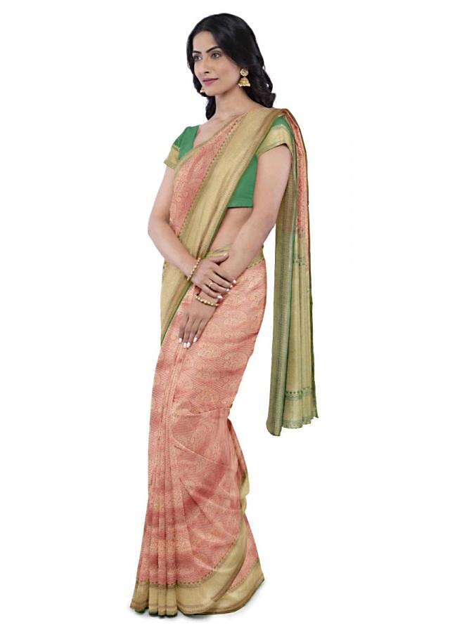 Tiger Orange Banarasi Saree With Paisley Buttis Online - Kalki Fashion