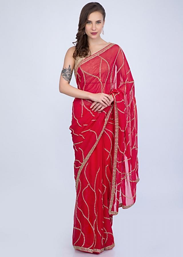 Tomato red georgette saree cut dana abstract embroidery only on Kalki