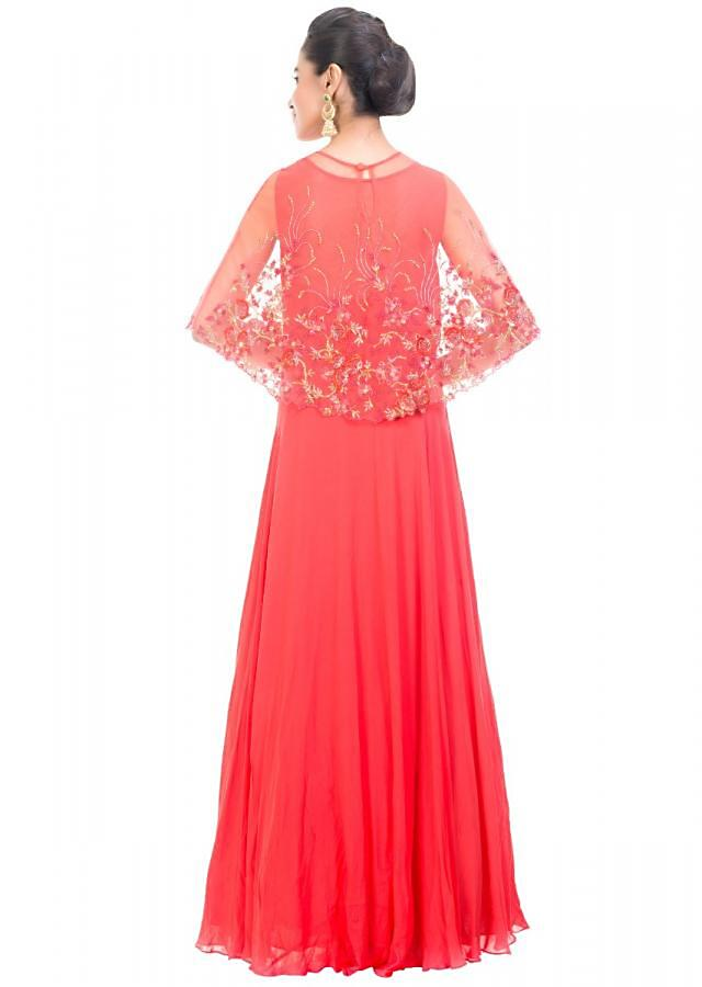Tomato Red Gown With Embroidered Cape