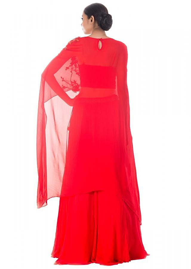 Tomato Red Long Cape & Skirt Set Online - Kalki Fashion
