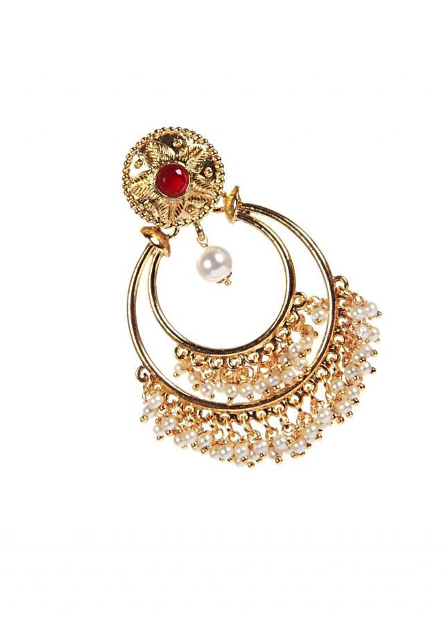 Traditional Chandbali With Red Ruby And Pearl Hanging only on Kalki