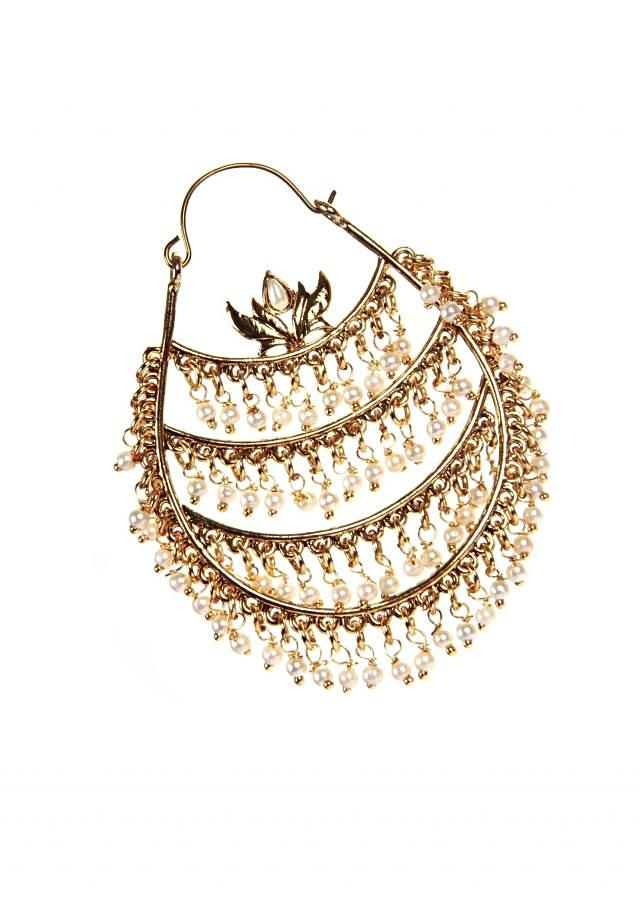 Traditional Chandbali With Rice Size Pearl Hanging only on Kalki
