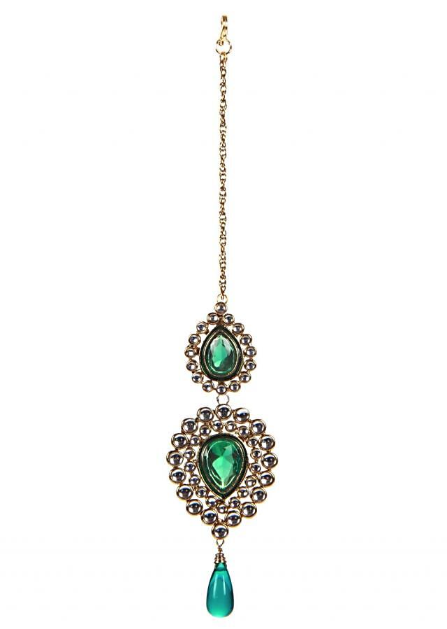Traditional Emerald Maangtika only on Kalki