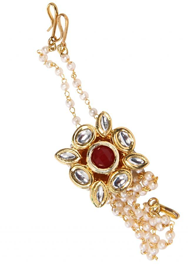 traditional gold kundan and zirconia maang tikka with gold enamel and a pearl string