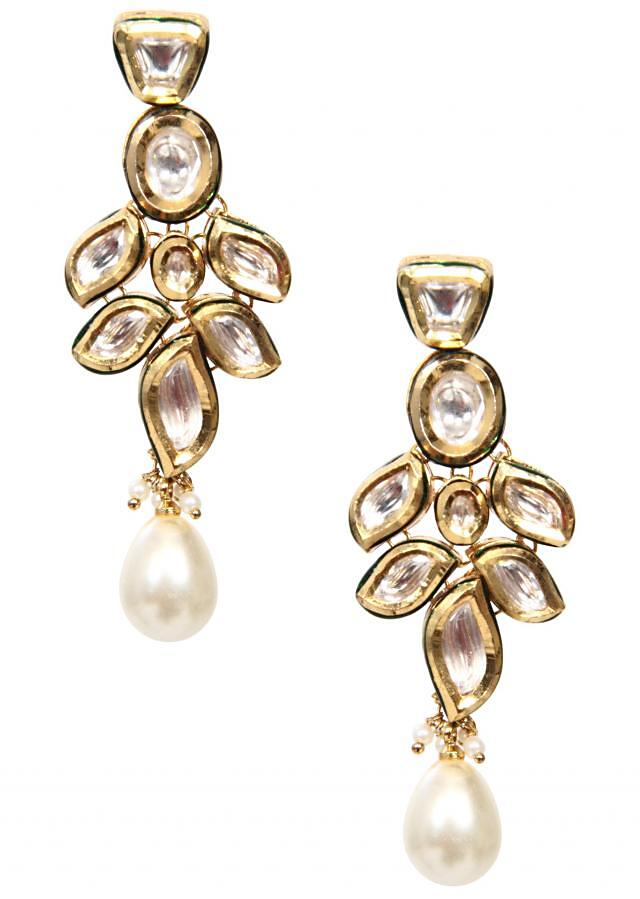 traditional gold kundan earring with gold enamel and a pearl drop