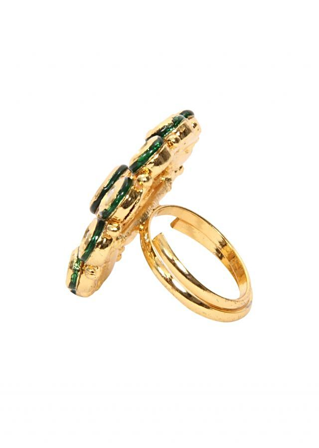 traditional gold kundan ring with green enamel