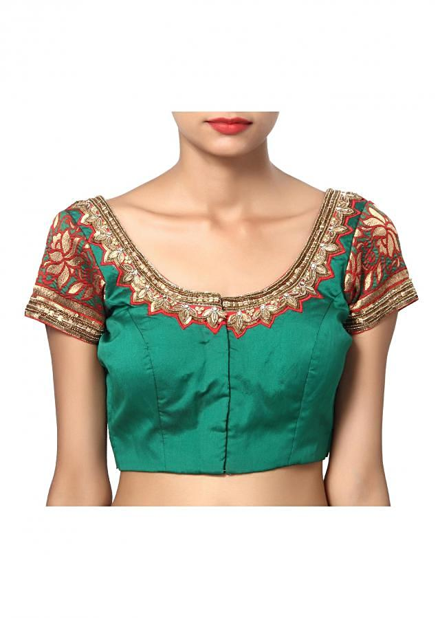 Traditional Green and red U neck with handwork
