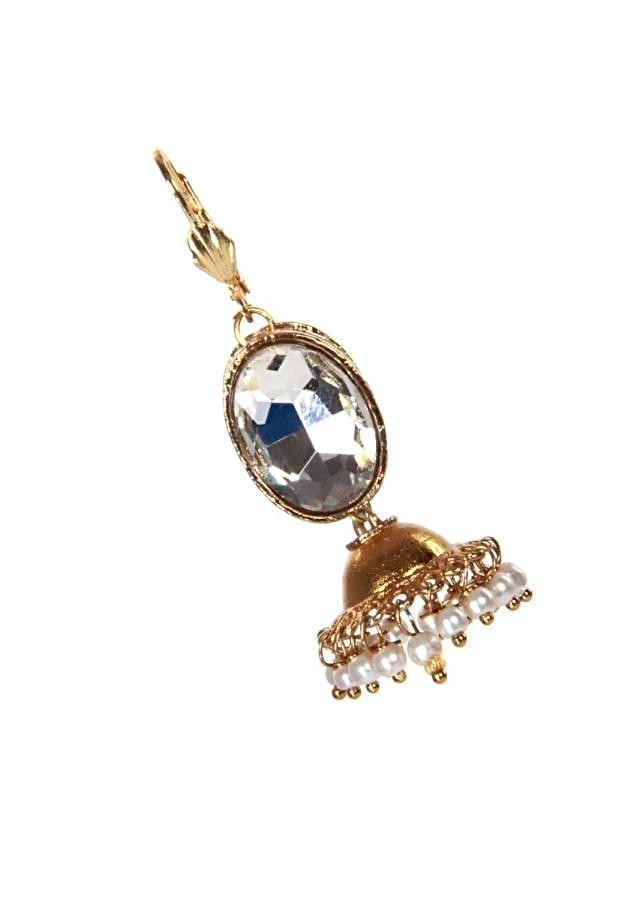 Traditional gold kundan earring with pearl dangler only on Kalki