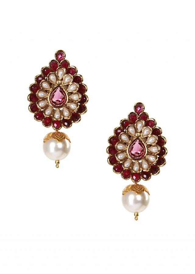 Traditional jhumki with pearl drop only on kalki