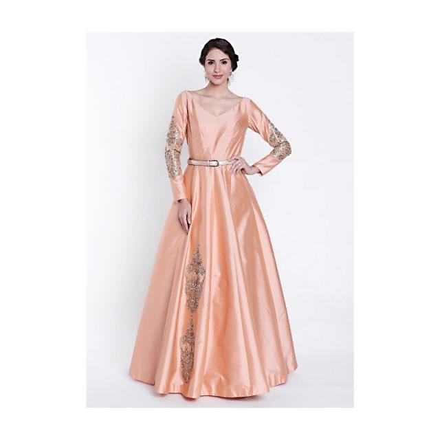 Tropical peach gown with embroidered kali and fancy sleeve only on Kalki