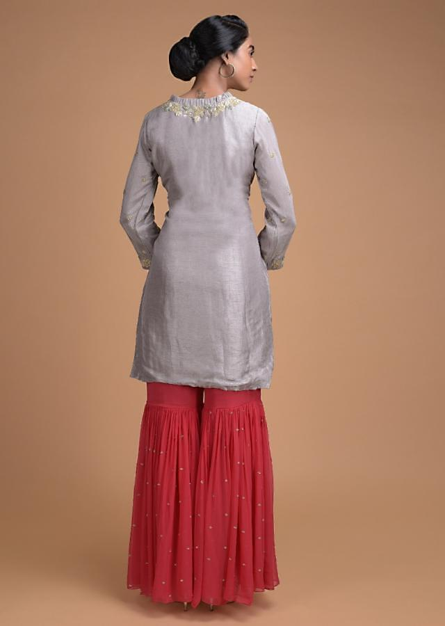 Trout Grey Sharara Suit With Floral Embroidered Placket And Buttis Online - Kalki Fashion