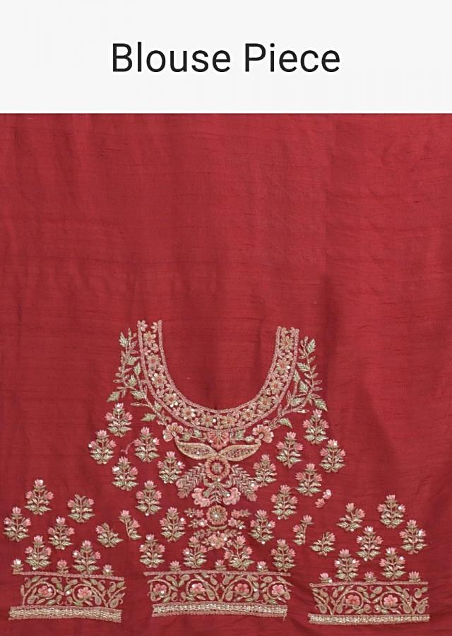 Turkey Red Lehenga Choli With Floral Motifs On The Kali And Hemline Online - Kalki Fashion