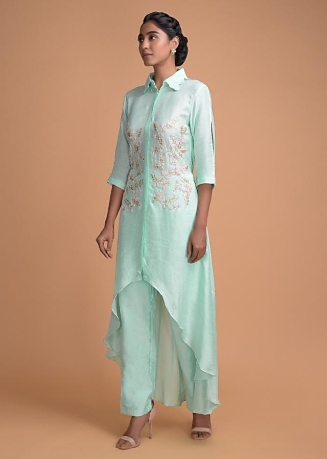 Turq A Line Suit With High Low Hemline And Embroidered Bodice In Leaf Motifs Online - Kalki Fashion