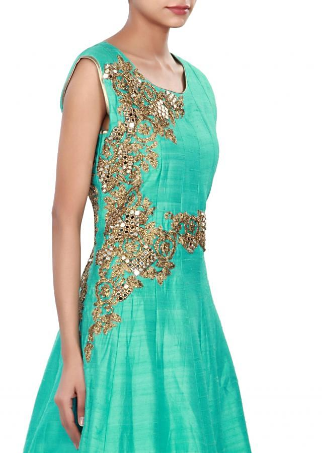 Turq anarkali suit adorn in mirror and zari embroidery only on Kalki