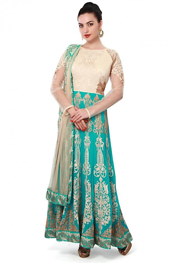 Turq anarkali suit adorn in thread embroidery only on Kalki