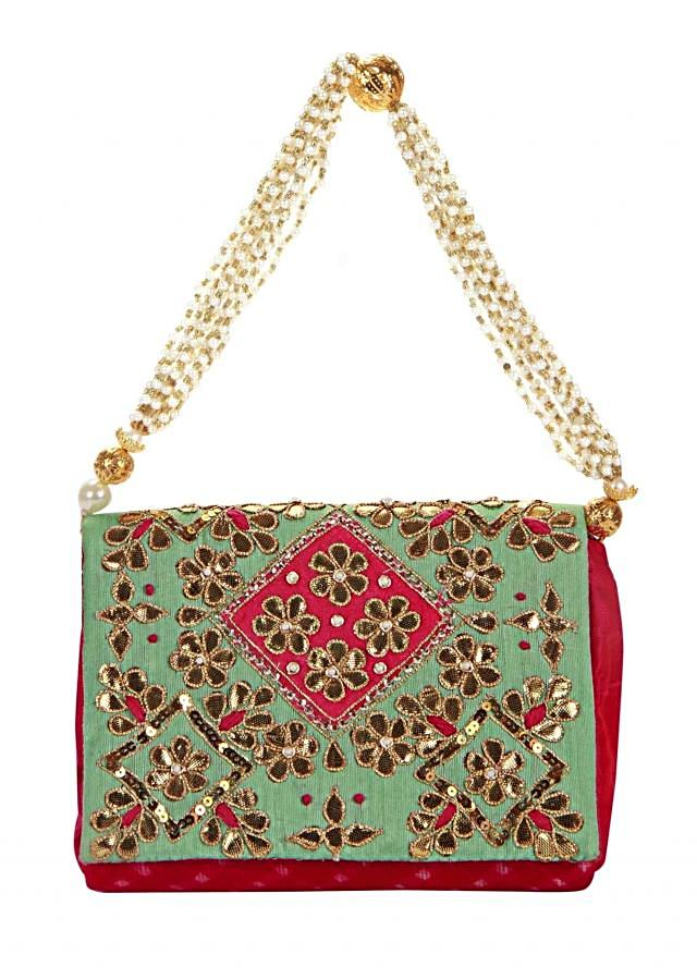 Turq and pink clutch with gotta patch embroidered flap only on Kalki