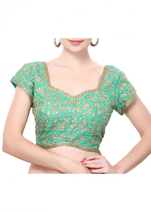 Turq blouse adore in kundan and thread only on Kalki