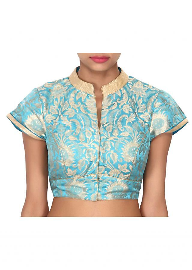 Turq blouse highlighted in gold collar only on Kalki