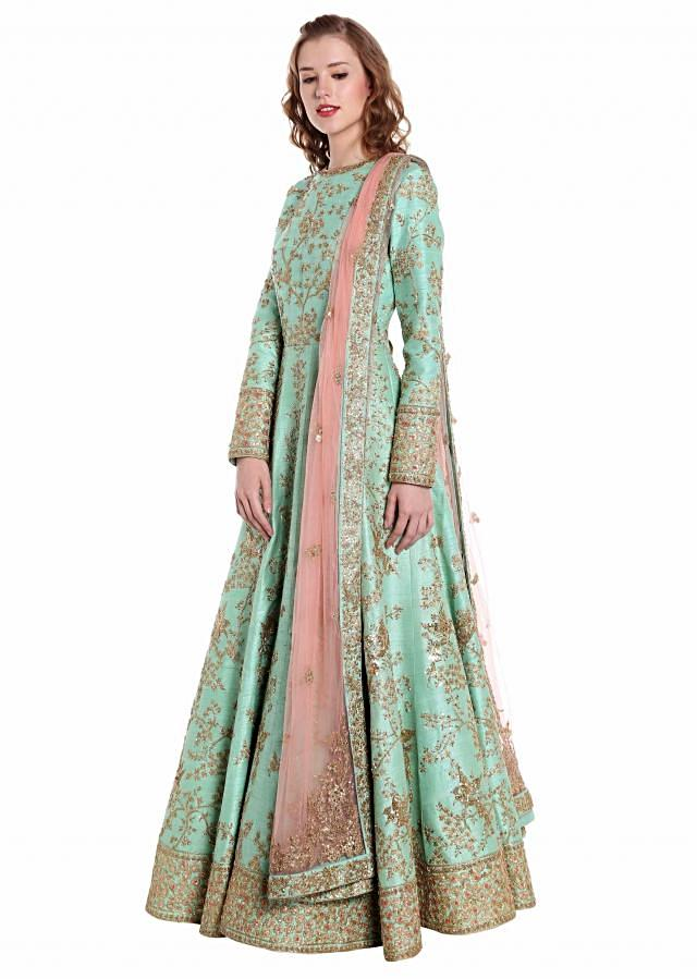 Turq blue anarkali suit in raw silk adorn in zari and sequin only on Kalki