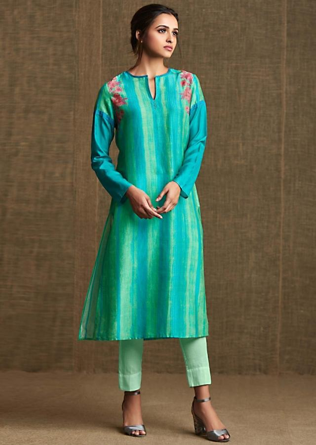 Turq blue and parrot green kurti in silk with resham embroidery in floral motif
