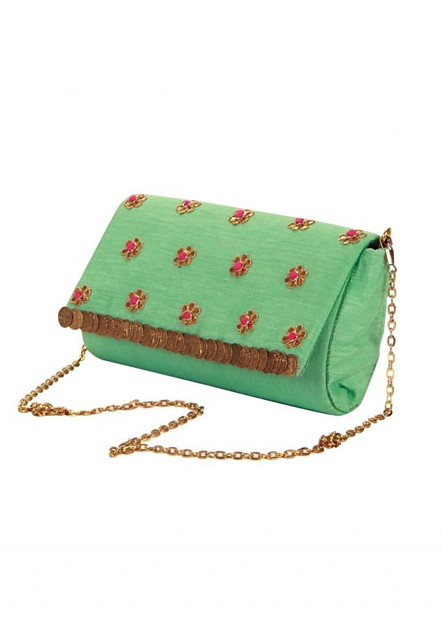 Turq blue clutch in raw silk with gotta patch butti only on Kalki