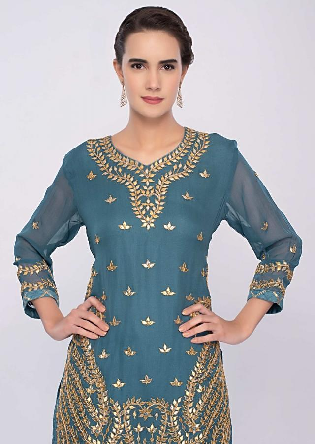 Turq Blue Sharara Suit Set With Gotta Patch Embroidery Online - Kalki Fashion