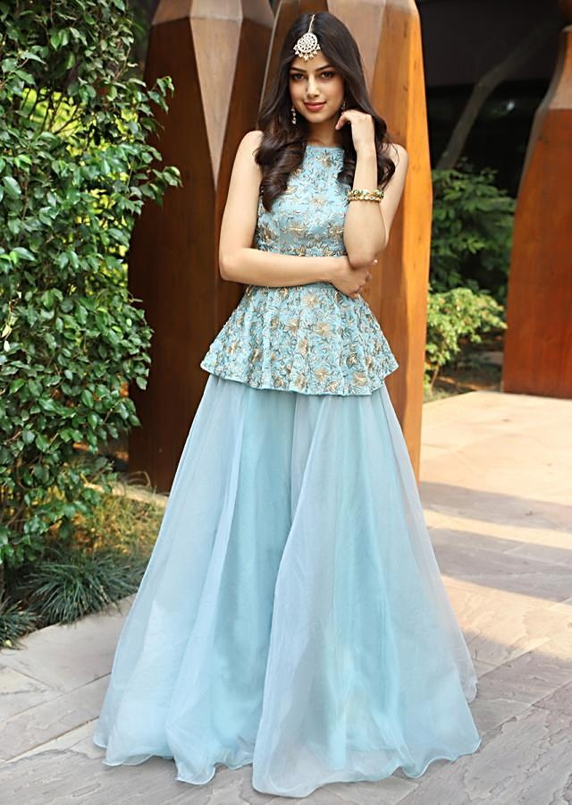 Turq Blue Halter Neck Peplum Top With Matching Organza Skirt Online - Kalki Fashion
