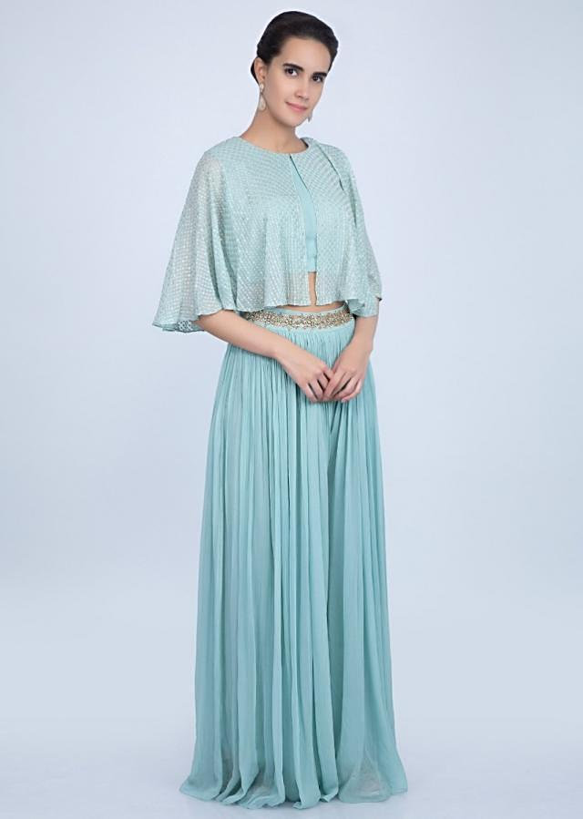 Turq blue palazzo with matching crop top with an attached top layer only on Kalki